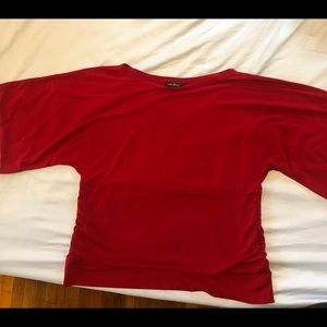 Lane Bryant Tops - Red top; flared sleeves, ruched mid-section